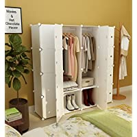 Koossy Expandable Clothes Closet Wardrobe Cupboards Armoire Storage Organizer with Door Stickers, Capacious & Sturdy 16 Cube White, 147 x 47 x 147 cm