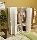 Koossy Erweiterbares Kleiderschrank Regalsystem für Kinderzimmer Wohnzimmer und Schlafzimmer (Weiß, 16 Cube)