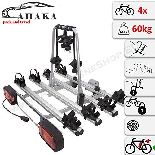 AHIRO4 Anhängerkupplung Fahrradträger für 4 Fahrräder abklappbar abschließbar aus Stahl und Aluminium