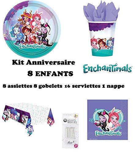 Kit Enchantimals 8 Enfants Complet Anniversaire (8 Assiettes, 8 gobelets, 16 Serviettes, 1 Nappe + 10 Bougies Magiques) fête