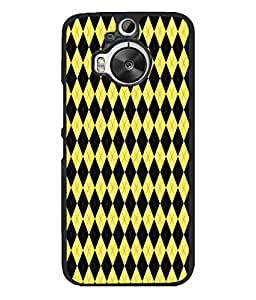 PrintVisa Designer Back Case Cover for HTC ONE M9+ (black yellow diamond shaped design)