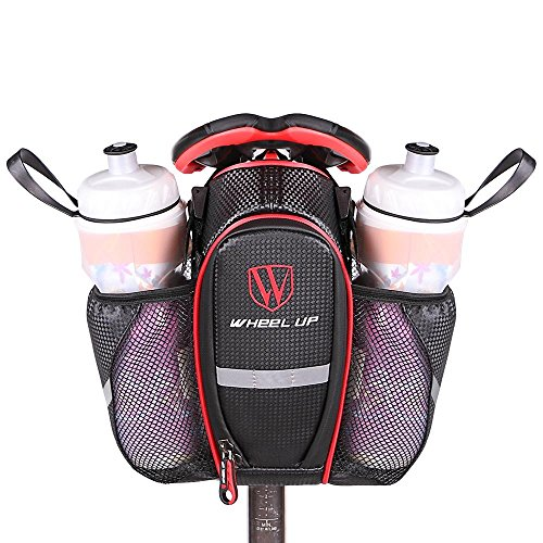 2 Taschen Bike Bag Fahrrad Taschen Seat Bag Mountain MTB Rennrad Seat Rear Tail Pouch Flasche Taschen mit reflektierenden Klebeband für sicheres Reiten , red