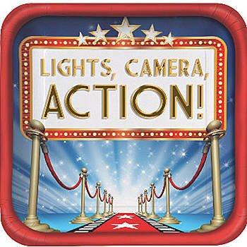 Abschlussball party Roter Teppich-Mittel den Abschlussball oder in-hollywood-Partys LIGHTS, CAMERA, ACTION Red Carpet, Packung für 16 Gäste ()