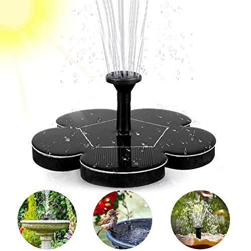 Woopus Solar Springbrunnen, Solar Teichpumpe Outdoor Wasserpumpe mit 1.4W Monokristalline Solar Panel Brunnen für Gartenteich, Oder Springbrunnen Vogel-Bad Fisch-Behälter,Garten Springbrunnen