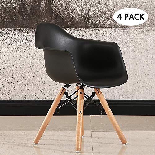 Dining Chair Environmental PP Kunststoff mit Rückenlehne Fashion Shell Chair mit Handlauf für Kindergartenkinder,Black ()