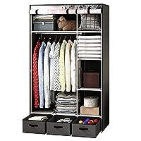 YEXIN Non-woven Fabric Wardrobe,waterproof Fabric Cupboard Clothes Hanging Rail Storage Shelves 105x45.5x176CM