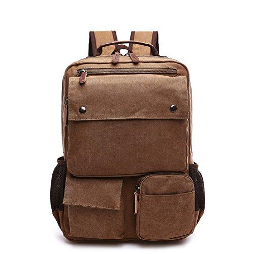 LF&F Neue Retro-Leinwand-Taschen Outdoor-Sporttasche beiläufiger Schulterbeutel Rucksack Laptoptasche Multifunktions Wandern Reiten Bergsteigen Brown