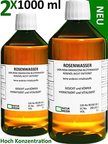 ROSENWASSER 2000-ml bio vegan halal koscher Lebensmittel Qualität 100% naturrein Rosa damascena ohne anderen Inhaltsstoffe Alkohol-frei Gesicht Gesichts-wasser PET Medizinflasche nachhaltig 2x 1000ml