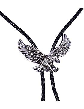 MASOP Adler Bolo Tie Krawatte American Symbol Western Cowboy Stil Schwarz geflochten Leder Halskette mit Schwarz...