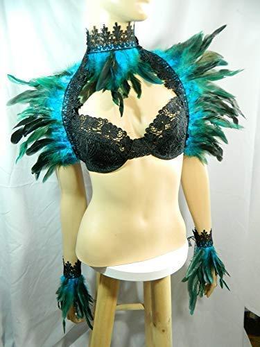 Kostüm Rio Vögel Karneval - Set türkis Pfau Federstola und Federkragen und Federarmbänder