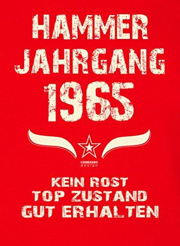 Damen-Kurzarm-T-Shirt Girlieshirt Geschenk-Idee zum 52. Hammer Jahrgang 1965 Geburtstag Geburtstagsgeschenk :-: Farbe: rot Rot