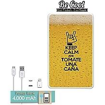Becool® - Batería Externa Power Bank 4000 mah + Gratis 1 cable USB-MicroUsb (Android) y adaptador lightning (Apple). Keep Calm Caña