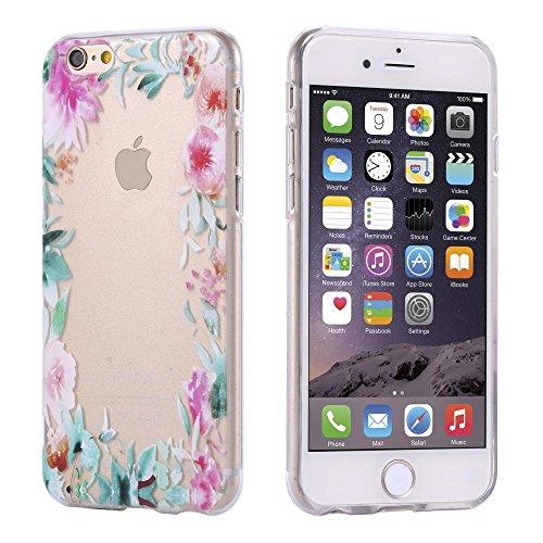 ECENCE Apple iPhone 7 / 8 SLIM TPU CASE SCHUTZ HÜLLE HANDY TASCHE COVER TRANSPARENT DURCHSICHTIG CLEAR 31040109 Blumenrahmen