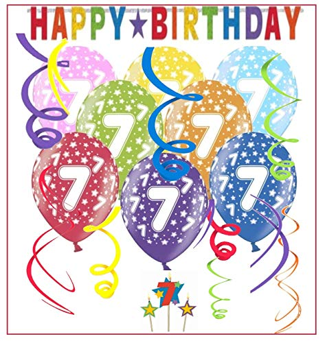 Libetui 7.Geburtstag Deko-Set 'Stern' Happy Birthday Bunte Partykette Girlande Spirale Luftballons und Geburtstags-Kerzen für 7. Geburtstag