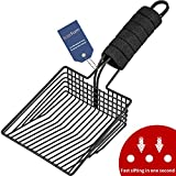 BasicForm Cat Litter Scoop - Stainless Steel Kitty Litter Scooper with Deep Shovel, Fast Sifter - Comfy Foam Handle - Black