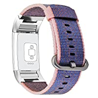 Fitbit Charge 2 Band,PUGO TOP Newest Fine Woven Nylon Strap Replacement Wrist Band(6.8''-9.0'') for Fitbit Charge 2-Midnight Blue