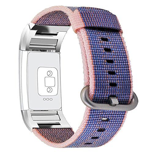 Fitbit Charge 2 Band, PUGO TOP La più recente fascia di cinturino in poliestere ad alta resistenza (6.8 '' - 9.0 '') per la carica di Fitbit 2-Blu notte