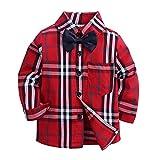 LIAOMNKJ Wenig Kleinkind-Junge schottisches Kinderhemd langärmeliges Kariertes Hemd mit Bogen-Knoten 1-7 T Size 130 (Red Plaid)