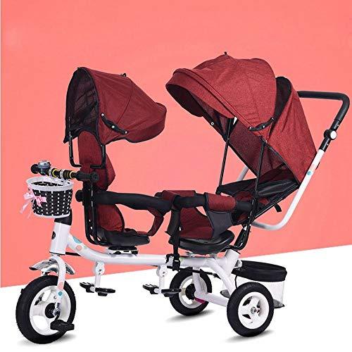 ZN Zwillingsdreiradkinder Doppelsitz Fahrrad Zwillingskinderwagen 1-7 Jahre Altes Babyauto, rot,1