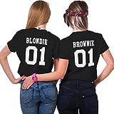 Sister Shirt Für 2 Mädchen Best Friends T-Shirt Best Freund Top Brownie Blondie BFF Oberteil Damen Sommer Schwarz Rücken Muster Kurzarm Bluse Schwester Geschenk 2 Stücke(Schwarz,Blondie-L+Brownie-XL)