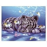 Seawang DIY Diamant Peinture Broderie Tigre Animal rond Strass Croix type 2