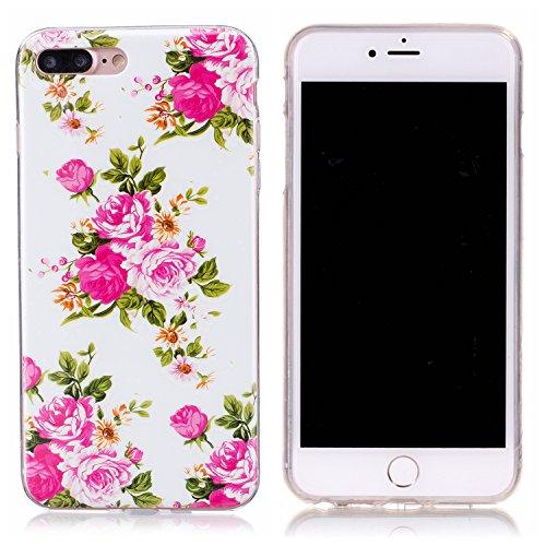 iPhone 7 Plus Hülle, E-Lush TPU Soft Silikon Tasche Transparent Schale Clear Klar Hanytasche für Apple iPhone 7 Plus (5.5 Zoll) Durchsichtig Rückschale Ultra Slim Thin Dünne Schutzhülle Weiche Flexibe Pivoine