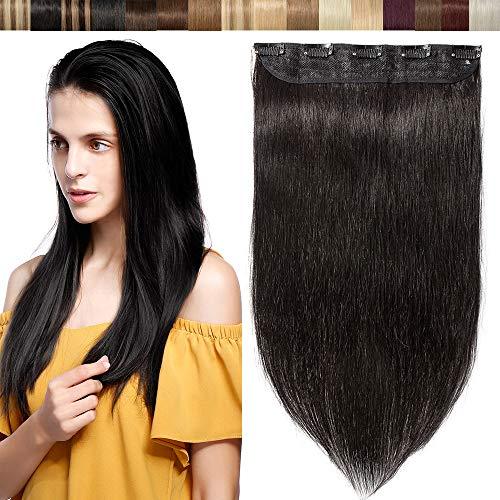 Extension Capelli Veri Clip Fascia Unica 100% Human Hair Neri Clip Extension 3/4 Full Head One Piece con 5 Clips - #1B Nero Naturale 40cm 45g
