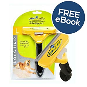 Furminator De Shedding Tool for Large Dogs - Long Hair - INCLUDES EXCLUSIVE FLEA & TICK E BOOK 10
