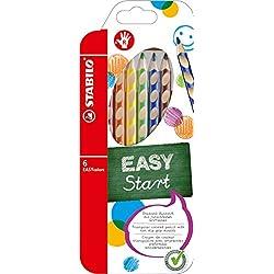 STABILO EASYcolors START - Lápiz de color ergonómico - Modelo para DIESTROS - Estuche con 6 colores