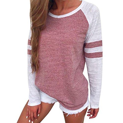 OVERDOSE Mode Damen Frauen Rundhals Lange Hülsen Spleiß Blusen Oberseiten Kleidung T-Shirt Tops Pullover (S, Rot)