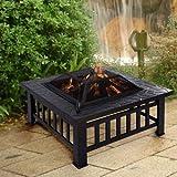 Garden Mile Garden Firepit Patio Heater Stove Fire Pit Square Brazier Table Tile Large Black