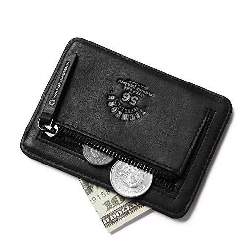 df83e5b57 Teemzone Monedero Tarjetero de Piel Hombre Pequeño Cartera de Cremallera  Monedas Bolsillo