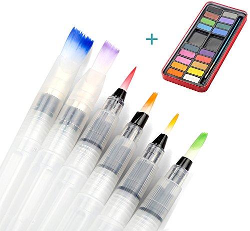 Farben mit Pinsel ,Tatuer 6 Stk Wasser Pinsel Aquarell Pinsel + 18 Farben Wasserfarben...