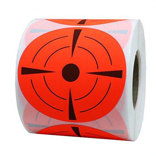 Zielscheiben-Aufkleber, Sticker 7,6cm, rund, selbstklebend, Schießzielscheiben - Zielaufkleber -fluoreszierend rot und schwarz