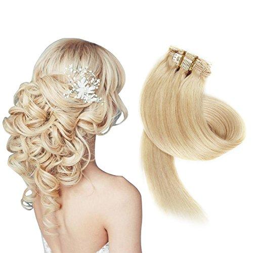 Clip in set da extension, 100% veri capelli, 7 parti in 38, 45, 50 o 55 cm di lunghezza (38cm, no.613 luce bionda)