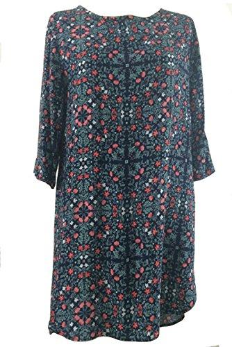 Damen Bluse Frauen Spitzenbluse beiläufiges Druck Minikleid Tunika T Shirt (8, Rot) -