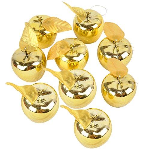 Doitsa 9pcs Apfel Anhänger Christbaumschmuck aus Kunststoff Szenen Dekoration 5cm Gold