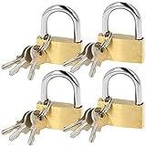 com-four® 4X Cadenas en Laiton - Cadenas à 3 clés - Verrou de sécurité pour Le ménage, Les Loisirs et Le Travail (04 pièces - 30 mm)
