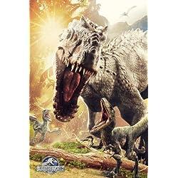 Lote - 2 Artículos - Jurrasic World Dinosaurio Ataque Póster - 91.5 x 61 cm (91.4x61cm) y un Set de 4 Reposicionables Almohadillas Adhesivas Para Fácil Fijación De Pared