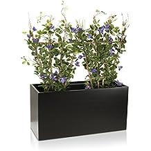 maceta jardinera visio fibra de vidrio macetero color negro mate maceta grande resistente