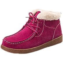 xmeden Ladies Suede Invierno Botas de nieve Lace Up Flat Zapatillas Plus Plataforma de terciopelo Zapatos, mujer, rosa