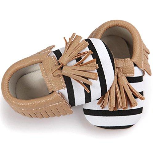 Xmansky Baby Krippe Quasten Bowknot PU-Leder Schuhe Kleinkind Sneakers Freizeitschuhe ((12-18)Monate)