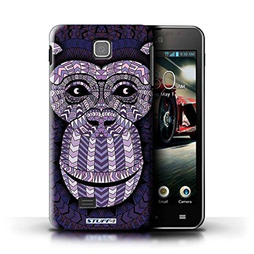 Kobalt® Imprimé Etui / Coque pour LG Optimus F5/P875 / Loup-Vert conception / Série Motif Animaux Aztec Singe-Pourpre