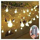 Lichterkette Außen Batterie 10M/33FT 80 Glühbirnen - Wasserdichte Outdoor Lichterkette für Party/Garten/Weihnachten/Terrasse - 8 Modi Fernbedienung Kontroller