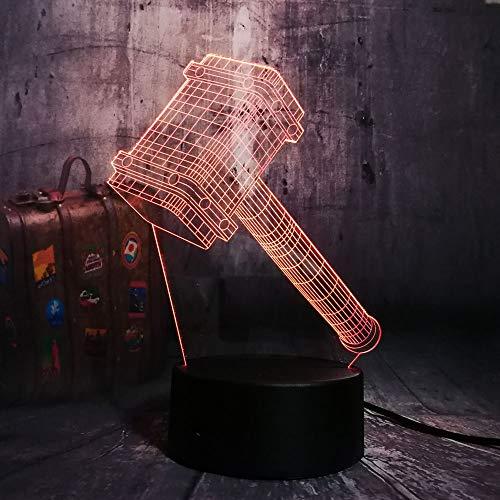 Nocturna Lámpara Novedad Cool Big Thor Martillo 3D