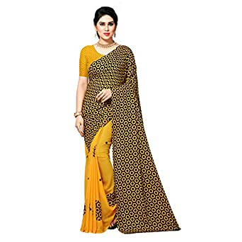 Anand Sarees Women's Georgette Saree With Blouse Piece