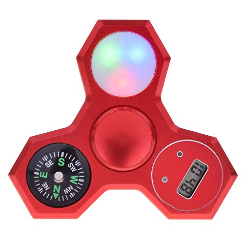 Leehur 4 in 1 spinner multifunzione in metallo, con il led spinner colourful metal hand spinner + electronic watch + bussola finger spinner toy