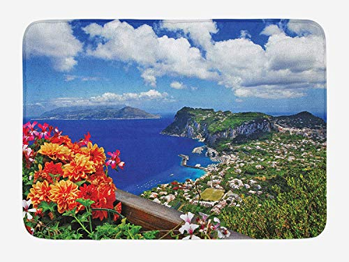 ASKYE Island Bath Mat, Scenic Capri Island, Italy Mountain Houses Flowers View from Balcony Landmark, Plush Bathroom Decor Mat with Non Slip Backing, 23.6 W X 15.7 W Inches, Blue Green Orange Island Flower Bowl