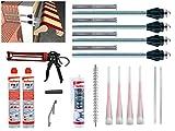 Fischer Thermax Befestigungsset 4 x 16/170 M12 Hochleistungsmörtel FIS V 300 T Multi Kleb und Dichtstoff KD-290 Zylinderbürste Kartuschenpistole