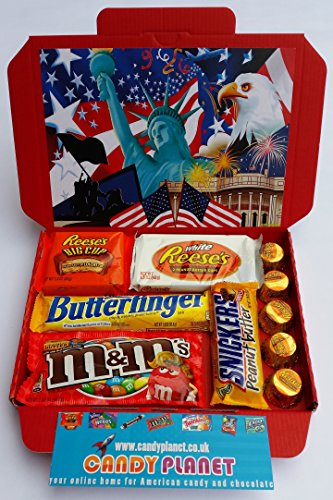 american-candy-peanut-butter-chocolate-sweets-gift-box-hamper-reeses-big-cup-butterfinger-childs-tee
